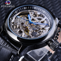 Forsining Skeleton Clock Blue Hands Gear Bezel Black Genuine Leather Screw Crown Cap Design Men Mechanical Watch Luminous Hands