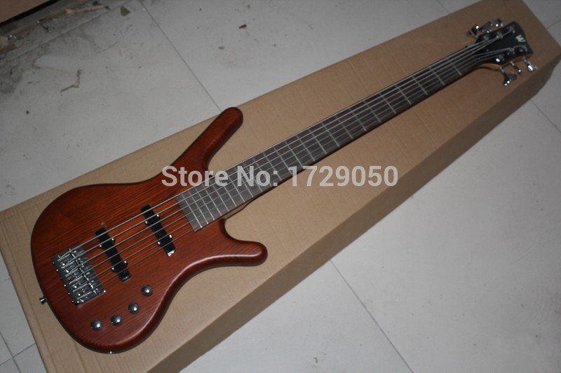 Free shopping factory custom Top Quality W k natural wood brown  6 String Bass Guitar with 9V Battery  active pickups 1110