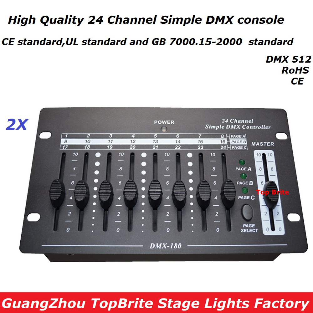 2XLot NEW 24 Channel Simple DMX Console DMX 512 Controller Professional DJ Disco Controller Equipment For Led Moving Head Lights