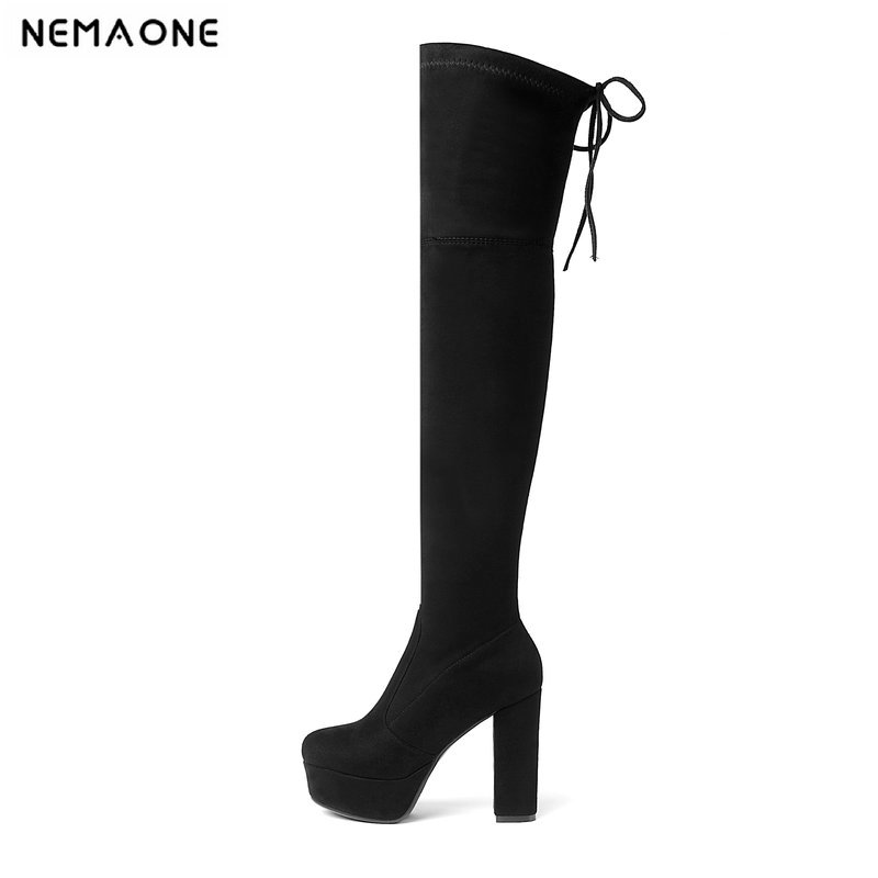 NEMAONE 2019 New Women Boots Sexy Fashion Over the Knee Boots Sexy Square Heel Boot Platform