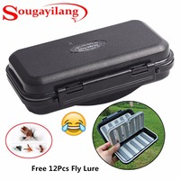 Sougayilang Durable ABS Plastic Foam Fishing Box Fly Fishing Lure Bait Hook Storage Fishing Tackle Case