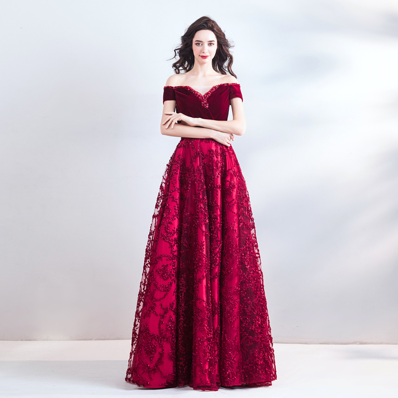 Long   Prom     Dresses   2019 New Burgundy Beaded Lace Off The Shoulder Velour Top Lace Skirt Lace Up Back Vestidos De   Prom   Gowns