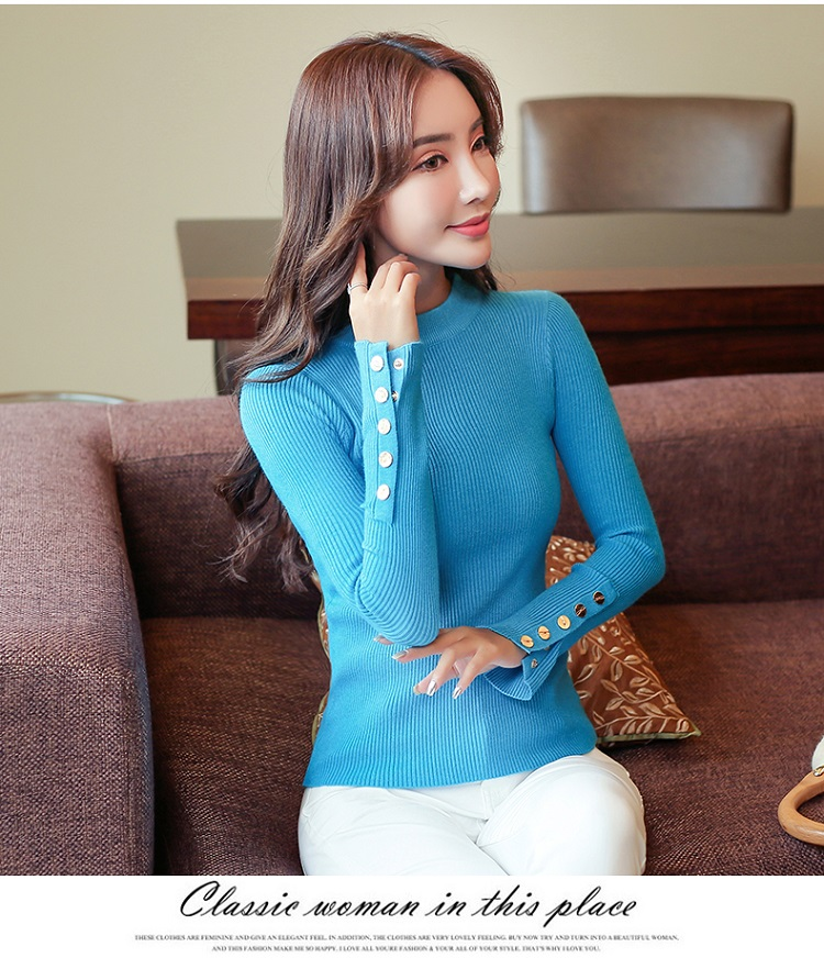 Fashion 19 New Spring Autumn Women Sweater Knitted Long Sleeve O-Neck Sexy Slim Office Lady Button Casual Sweaters Tops 21