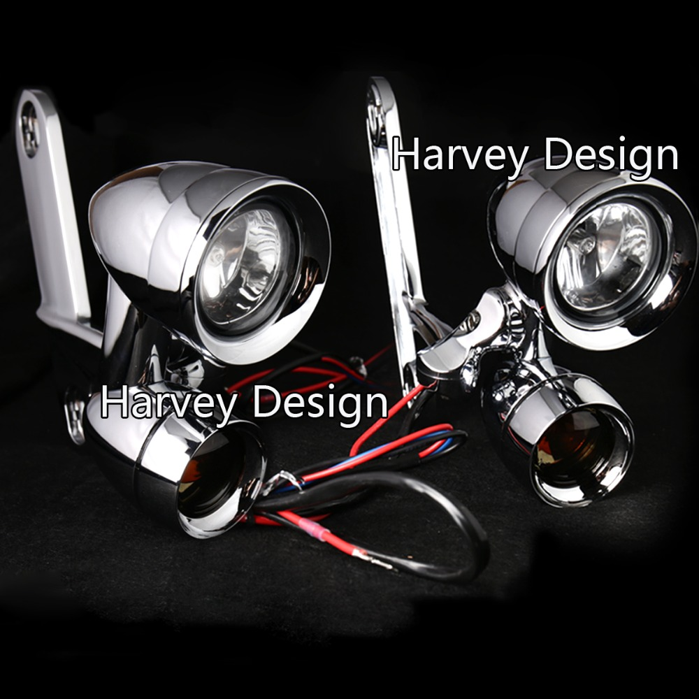 Chrome Fairing Mounted Driving Lights with Turn Signals for Harley Touring Street Glide  ...