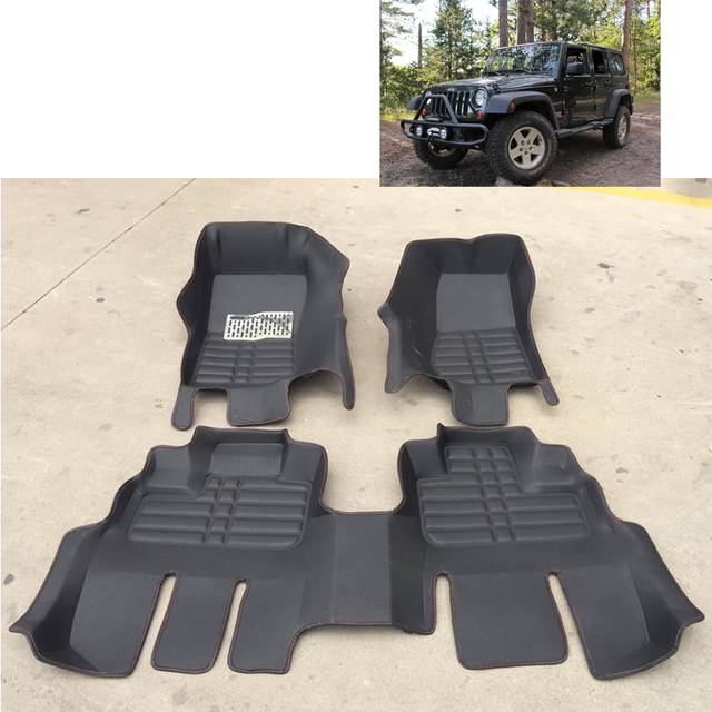 free shipping waterproof fiber leather car floor mat rug for jeep wrangler JK 2007-2016 2 doors 4 doors