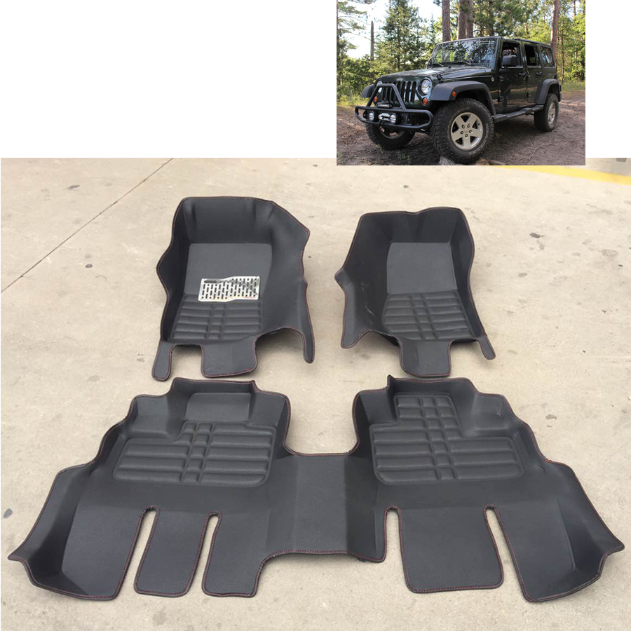 Floor mats jeep compass - Free Shipping Waterproof Fiber Leather Car Floor Mat Rug For Jeep Wrangler Jk 2007 2016 2 Doors 4 Doors