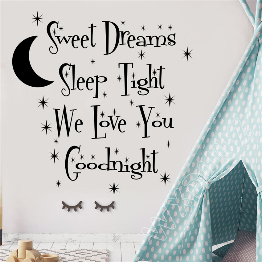WXDUUZ Wall Decal Quote Sweet Dreams Sleep Tight Decal Moon Vinyl Nursery Decor Home Decor Wall Sticker B132