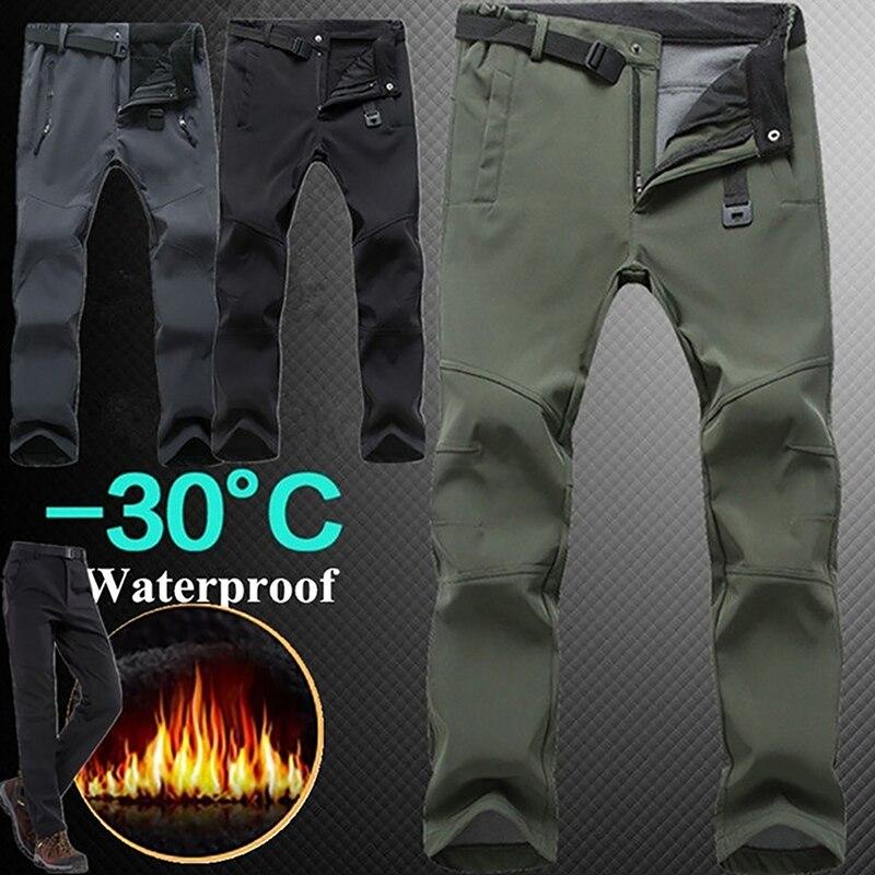 Winter Trousers Men Women Fleece Winter Softshell Camping Hiking Pants Outdoor Sports Waterproof Windproof Thermal Male Trousers