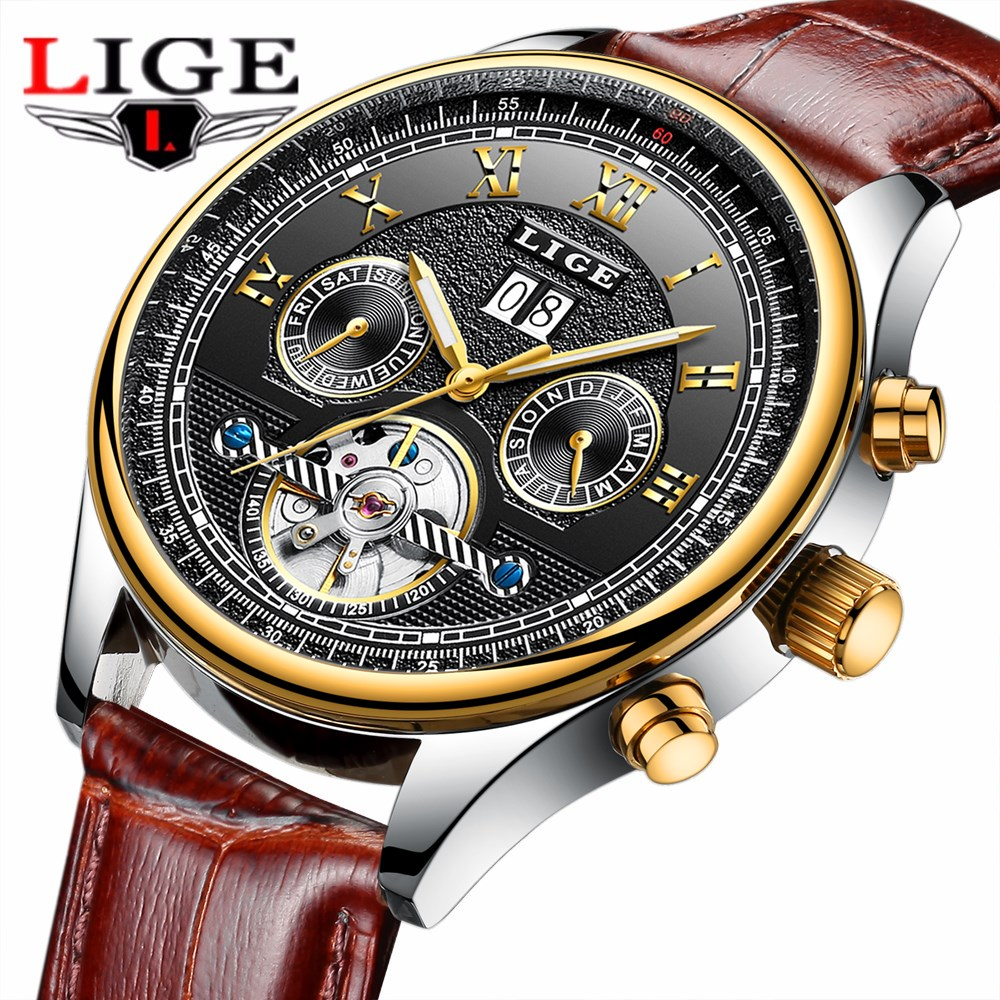 LIGE Top Brand Luxury Men Watches Automatic Mechanical Watch Mens Leather Business Waterproof Sport Wristwatch Relogio Masculino купить