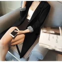 Однотонные Длинные Стиль черный для женщин Куртка Блейзер Женский Зубчатый воротник дамы пальто негабаритных сплошные Блейзеры feminino