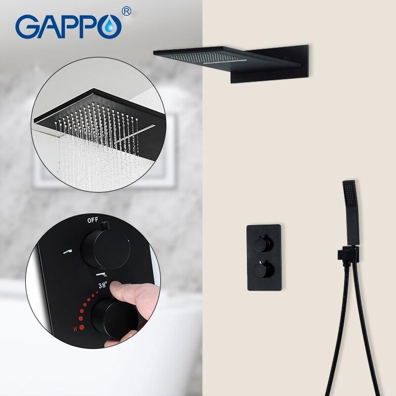 GAPPO robinets de douche noir thermostatique robinet cascade salle de bain mélangeur pluie bain ensemble douche robinet 3 fonction mitigeur de douche