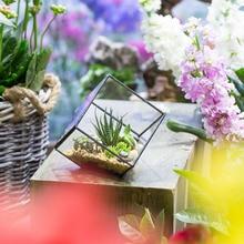 NCYP Handmade Mediterranean Style Glass Geometric Terrarium Desktop Display Succulent Plant Flower Pot Decoration Terrarium