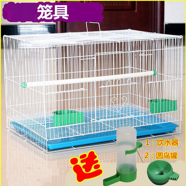 9833a16eb Pet Bird Metal Bird Cage Pigeon Starling Lovesickness Parrot Cage Breeding  Cage with Automatic Drinking Fountain