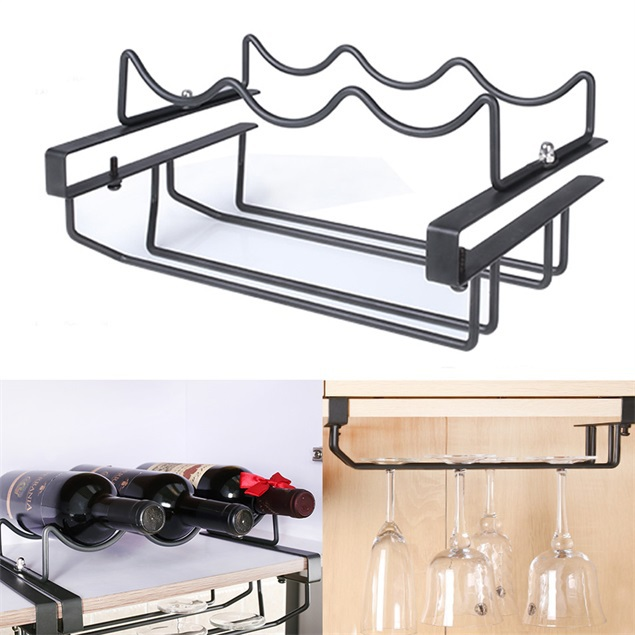 Modern Red Wine Bottle Rack Multi Functional Metal Wave Shape