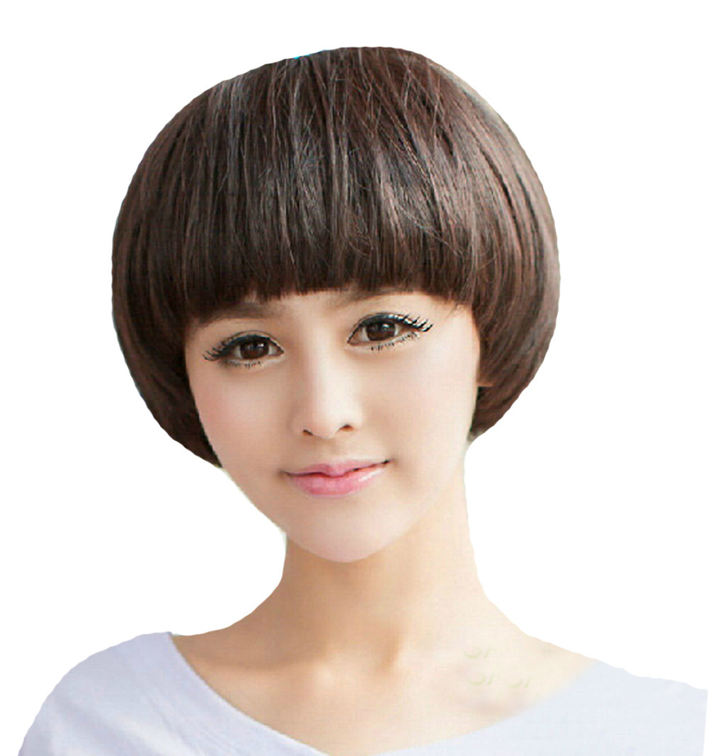 Mushroom Hairstyle rihanna mushroom cut hairstyle short hair Hot Selling Short Mushroom Hairstyle Brown Straight Flat Bang Full Wigfree Wig Cap In Synthetic Wigs From Hair Extensions Wigs On Aliexpresscom