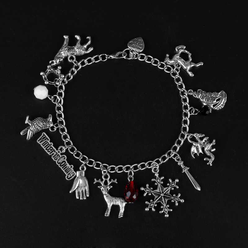Gra o tron Unisex urok bransoletkę Targaryen smok kryształ Dangles bransoletki Wolf Head Lion Punk Style Wristhand