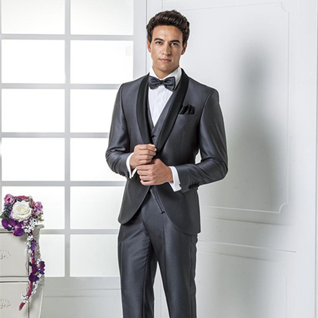 2016 New Collection Grey Wedding Suits Italian Mens Jacket Pants Tie Bow
