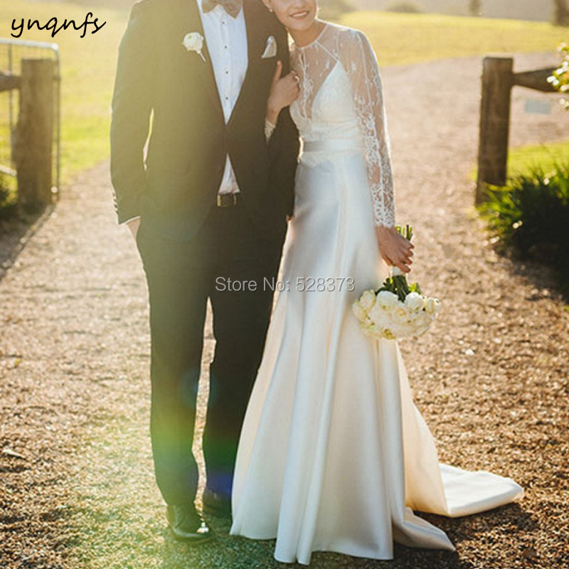 YNQNFS W93 Elegant Mermaid   Bridesmaid     Dresses   Long Sleeve Vestido de Novia Boho Simple Wedding   Dress   Bridal Gown 2019