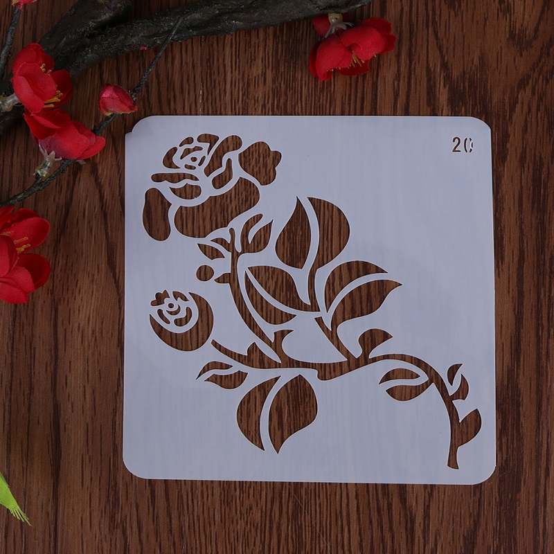 VODOOL Rose Flower Template Layering Stencils For Walls Scrapbooking/photo Album Decorative Embossing DIY Paper Cards Crafts
