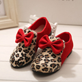 2015 Hot Sale Spring&Autumn Children Single Shoes Leopard Print Cute Bow Female Child Princess Leather Shoes Girl's Lovely Shoes