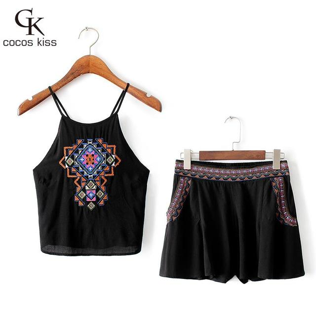 Girls Summer Casual Clothes Set Women sling Embroidery Sexy Vest + Short Pants Suits 2016 Women Clothing Sets for womens