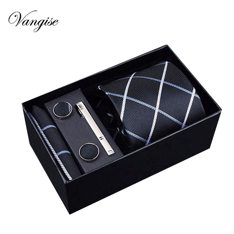 Wedding tie 8cm New high-quality mens ties gravatas dos homens tie set ties for men striped neckties gift box packing