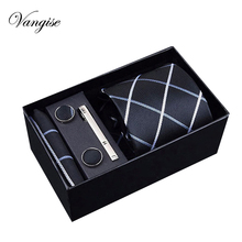 Wedding tie  8cm New high-quality mens ties gravatas dos homens set for men striped neckties gift box packing
