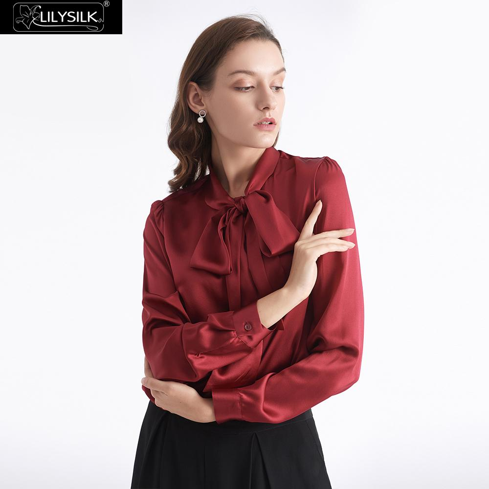 Blusa de seda LilySilk con lazo para mujer nuevo envío gratis-in Blusas y camisas from Ropa de mujer    1