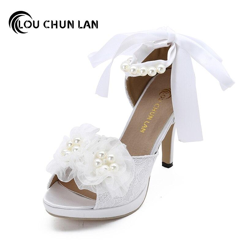 LOUCHUNLAN Women Pumps Shoes Lace Peep Toe Wedding Shoes