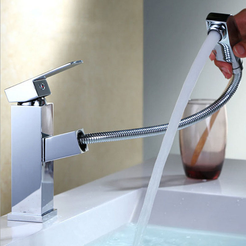 Single Hole Mixed With Water Basin Faucet Kitchen Hot And Cold Control Basin Pull-out Type Faucets Bathroom Brass Water Tap new arrival brass kitchen faucet mixer cold and hot kitchen tap single hole water tap torneira cozinha bathroom faucets