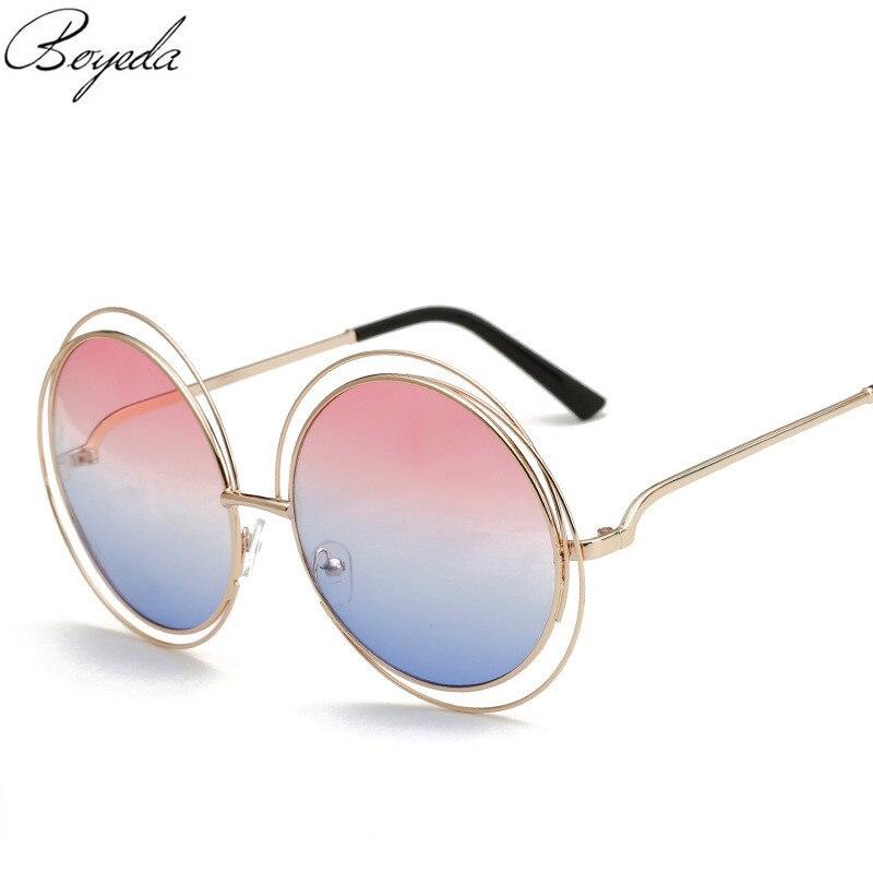 2016 Round Oversized Sunglasses Women Metal Mirror Coating UV400 Sun Glasses  Luxury Brand Designer Vintage Retro Female Eyewear