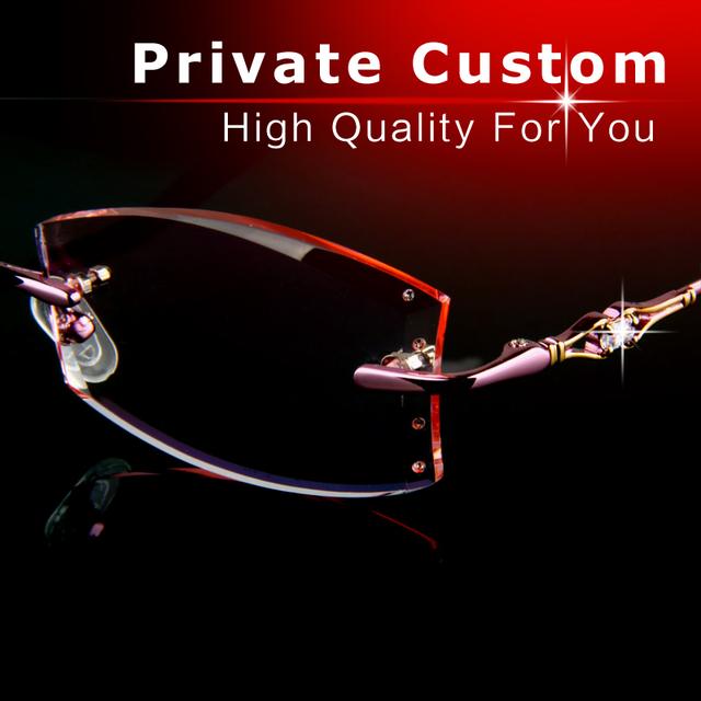 Casual óculos de Luxo personalizado Privado graus mulher de alta qualidade Sem Moldura óculos Anti-fadiga de alta clara len vidros ópticos 723