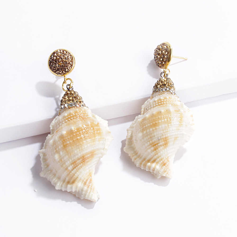 2019 Vintage Natural Shell Drop Earrings Handmade Elegant Statement Crystal Dangle Earrings Jewelry For Women For Party Gift