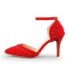 Frauen Sommer Sandalen Spitz Strass Perle Hochzeit Schuhe Wunderschönen Braut Schuhe mit Ankle Straps Weiß Rot und Rosa
