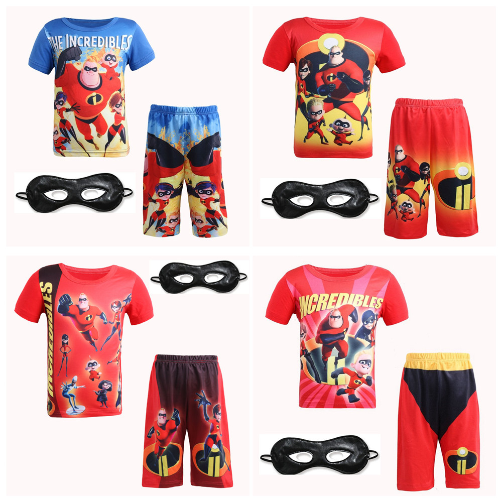 Kids The Incredibles Costume Halloween Costume For Boy Party Cosplay Costume Toddler T-Shirt+Pants Clothing Summer Kids pajamas