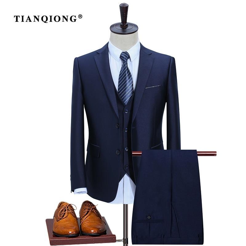 TIAN QIONG New Men Suits Slim Custom Fit Tuxedo Brand Fashion Bridegroon Business Dress Wedding Suit Blazer(Jackets+Pants+Vest)