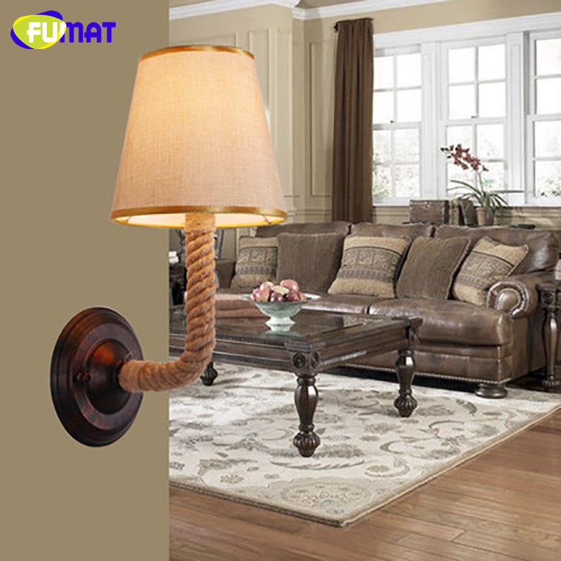 FUMAT American Country European Simple Wall Lamps Vintage Sconce for Living Room Bedroom Stairs Aisle Fabric Wall Lights Rope