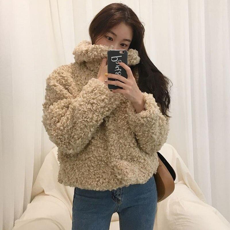 TXJRH Lapel Curly Long Hairy Shaggy Faux Lamb Wool Fur Coat 2018 Winter Women Faux Fur Short Jackets Loose Outerwear Warm