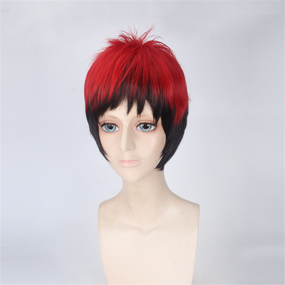 Cosplay Kuroko No Basketball Kagami Taiga Wigs 35cm Short Straight Red Black Gradient Heat Resistant Synthetic for Man Boys Wig