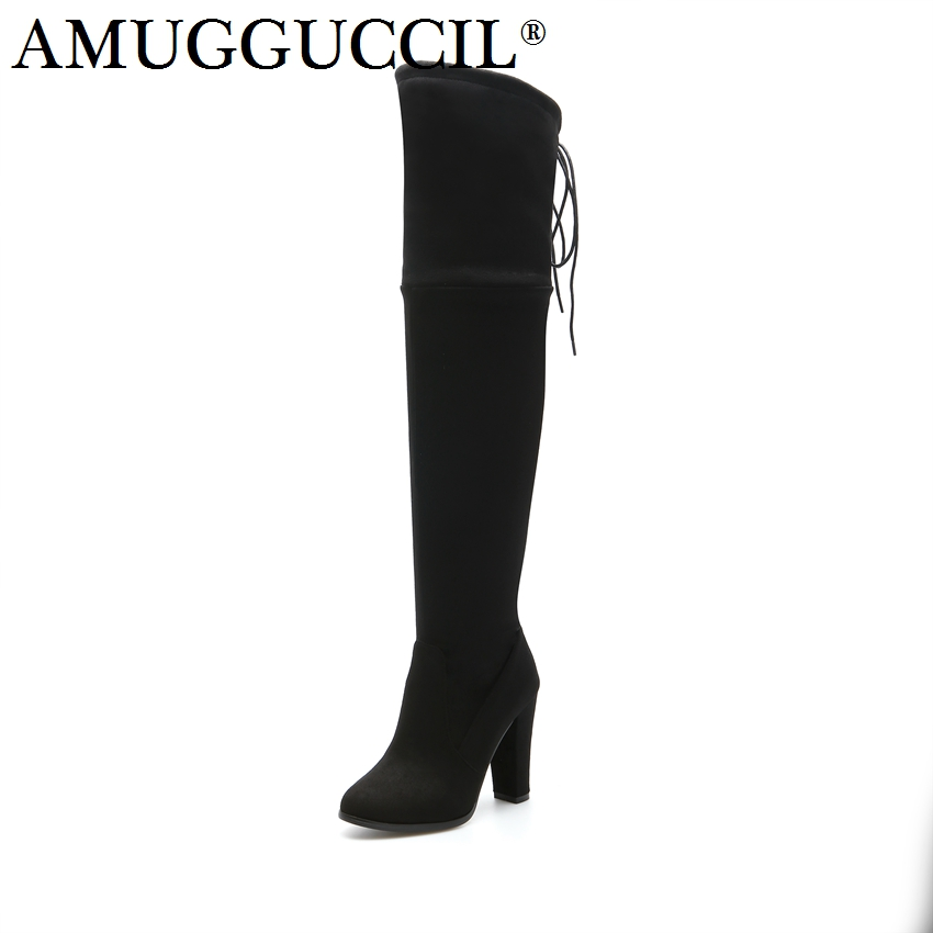 2017 New Plus Big Size 32-46 Black Wine-red Gray Lace Up Over The Knee Sexy Thigh High Heel Autumn Winter Girl Women Boots X1661 2016 brand new winter sexy women thigh high fur boots black gray lady over the knee shoes chunky heel etc02 plus big size 10 43