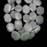 Stone Slice Beads,Faceted Cut Octangle Shape Flat Slab Stone Pendant Bead,Aqua marine Natural Gems Middle Drilled Beads Strands