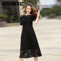 XAXBXC 2017 Summer Retro Girl Vestido 3 Colors Elegant Lace Hollow Floral Short Sleeve 1950s Vintage