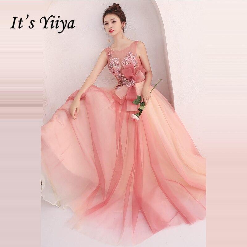 Это Yiiya вечерние платья с круглым вырезом и открытой спиной без рукавов с бисером Ling розовый на заказ Плюс Размер трапециевидное платье длин...