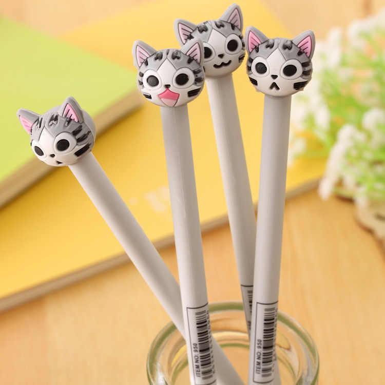 1PC mignon expression stéréo chat gel stylo étudiant noir signature stylo créatif 0.5mm bureau papeterie
