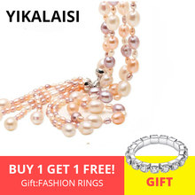 YIKALAISI 925 Sterling Silver Jewelry Natural Freshwater Pearl Long Multilayer Tassel Necklace Fashion jewelry For Women(China)
