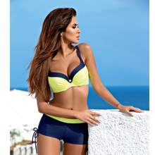 цены на Women Yellow Push Up Swimsuit Sexy Padded Bikini Set 2019 Summer Bathing Suit Hot Beachwear Europe Plus Size Swimwear в интернет-магазинах