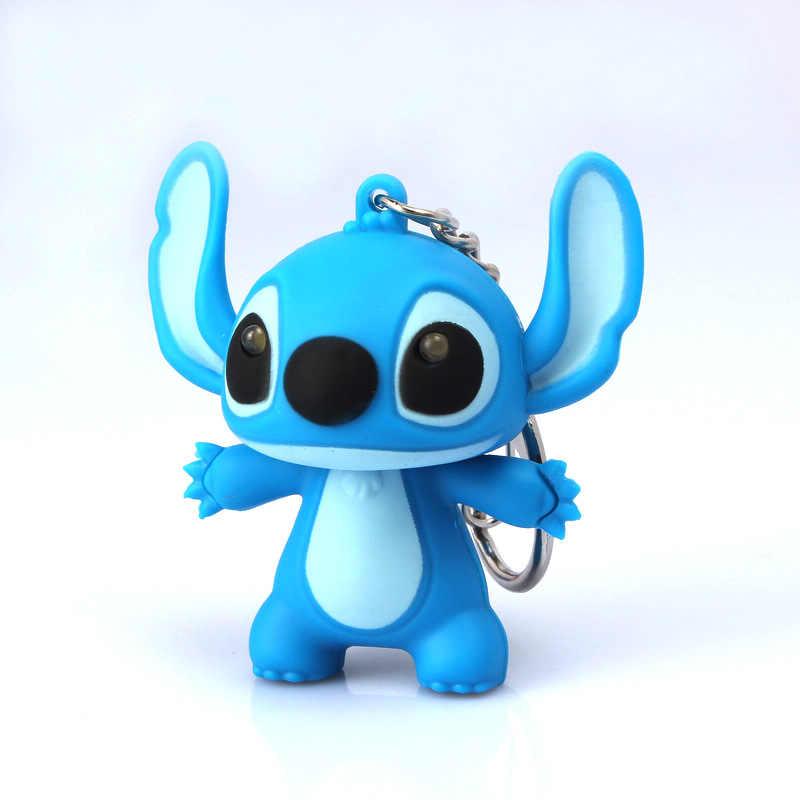 1 Pc Popular Lilo E Stitch Brinquedos Filme de Desenhos Animados Ponto CONDUZIU a Iluminação Sons Brinquedos As Crianças Presentes Criativos Da Novidade Chaveiros