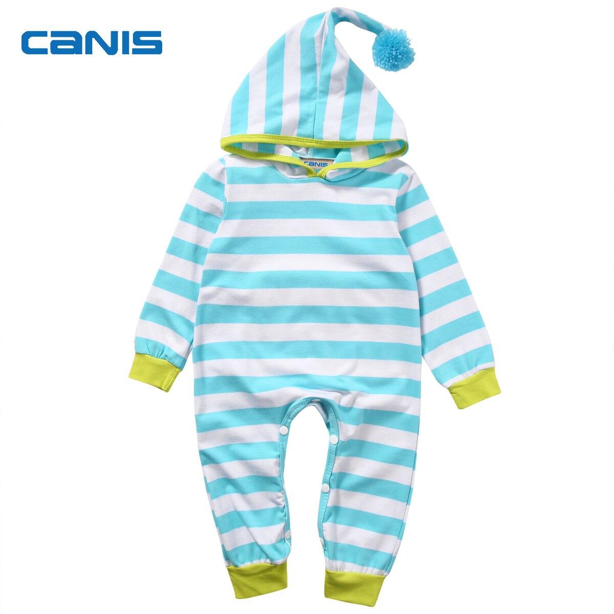 Stylish Blue Striped Hooded Newborn Baby Boy Girls Romper Jumpsuit ...