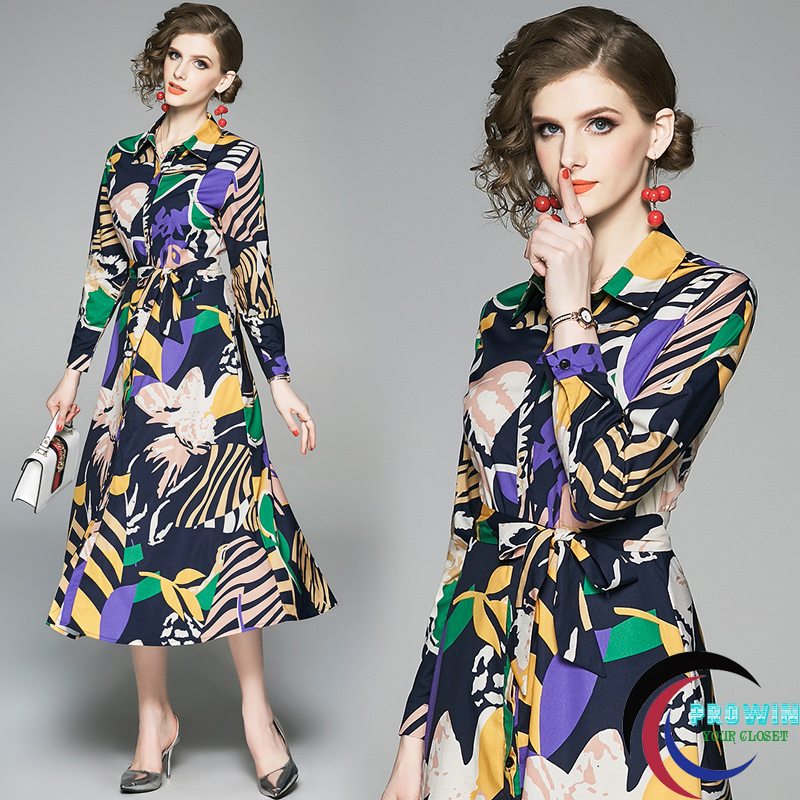 Womens Elegant Slim Vintage Single breasted Print Shirt Dresses Office Casual Party A Line Long Dress