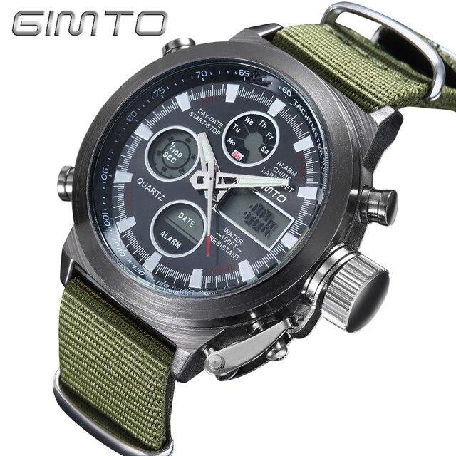 2018 GIMTO Top Brand Men Watch Shock Black Dial
